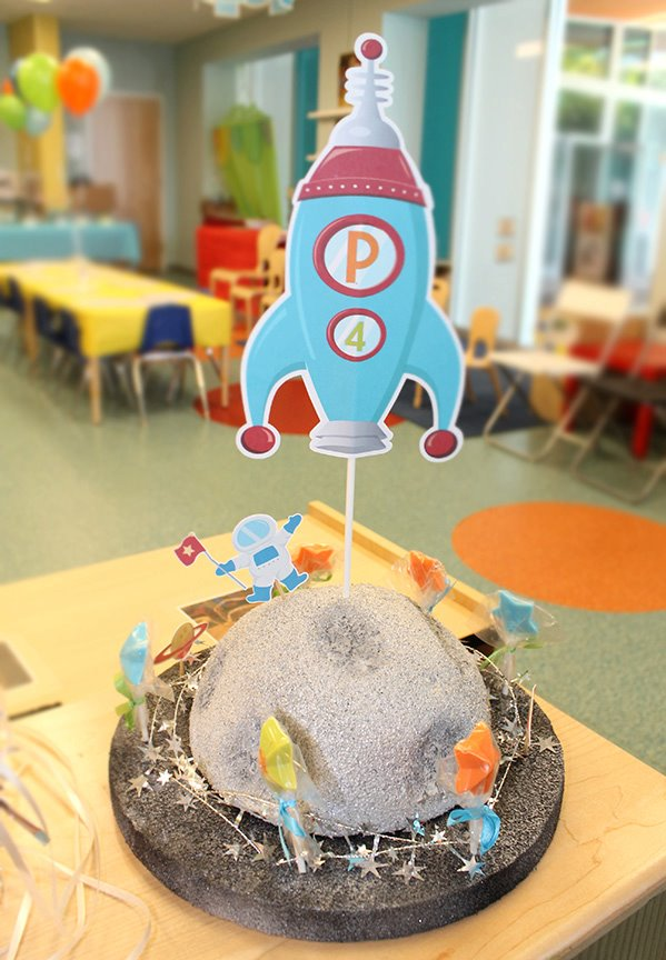 Modern outer space birthday party celebration lane