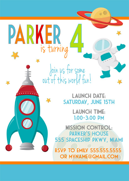 SpaceInviteModern_5x7_SAMPLE2 modern outer space birthday party celebration lane,Space Birthday Party Invitations