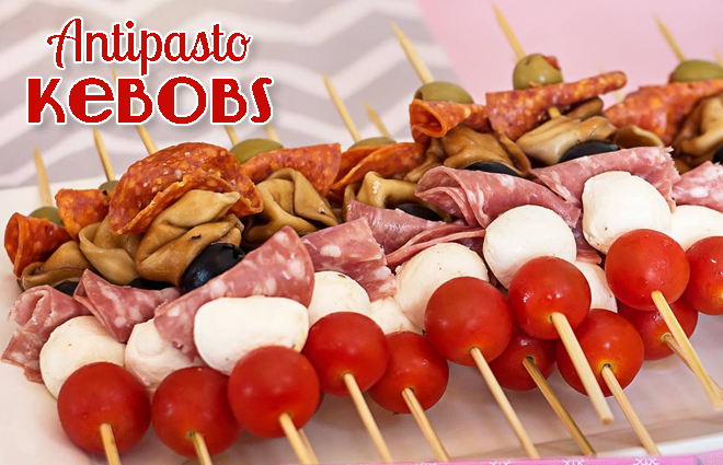 Party food antipasto kebobs celebration lane for Easy food ideas for parties