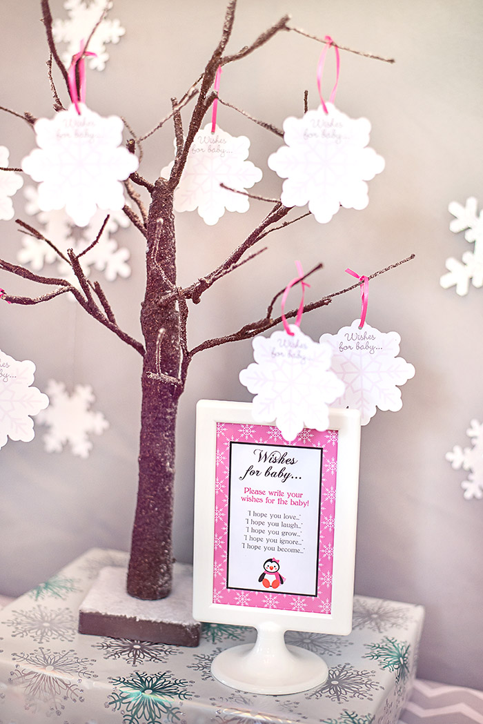 Winter wonderland little penguin baby shower celebration for Wish decoration