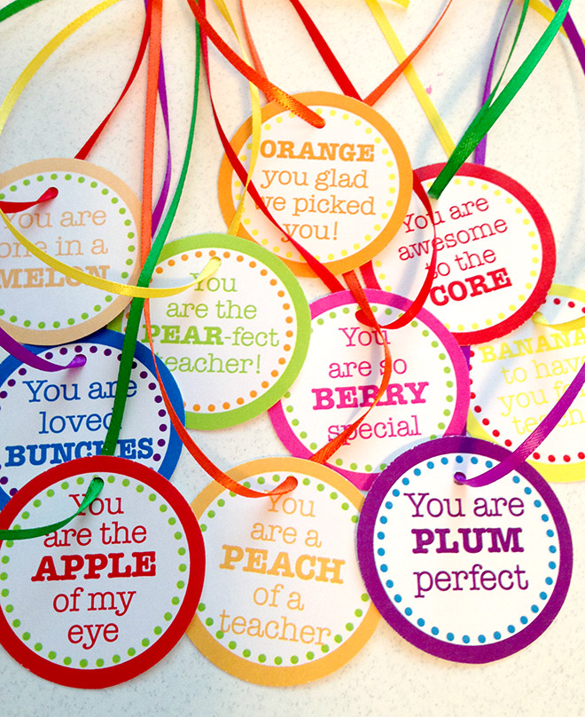 Teacher Appreciation Day Fruit Basket + Free Printable Tags ...