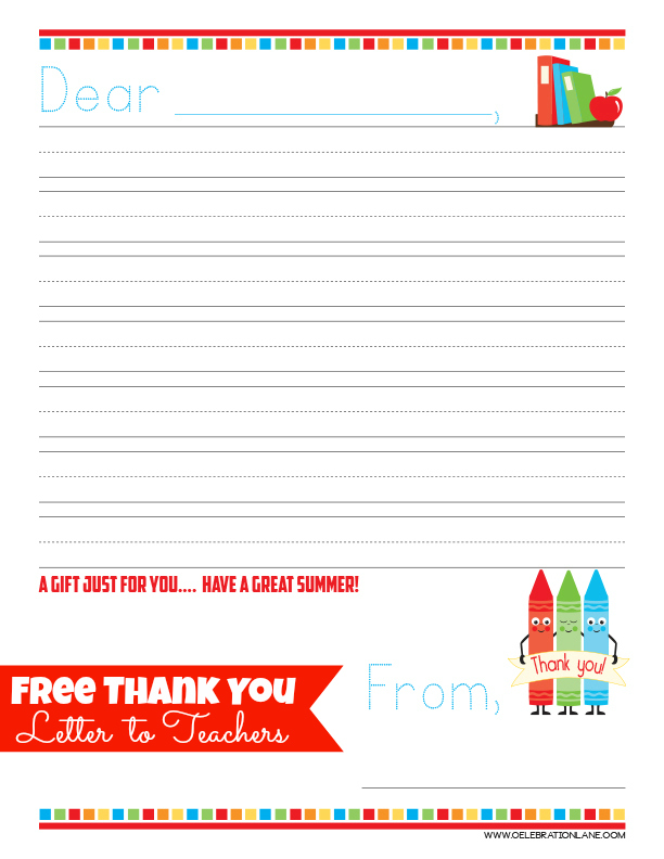 Free Teacher Thank You Letter / End of School Year Gift