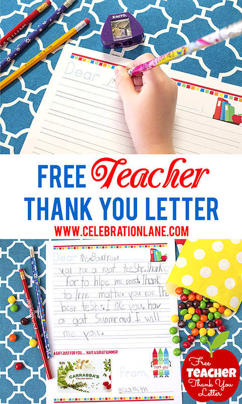 Free Teacher Thank You Letter | End of School Year Gift | www.celebrationlane.com